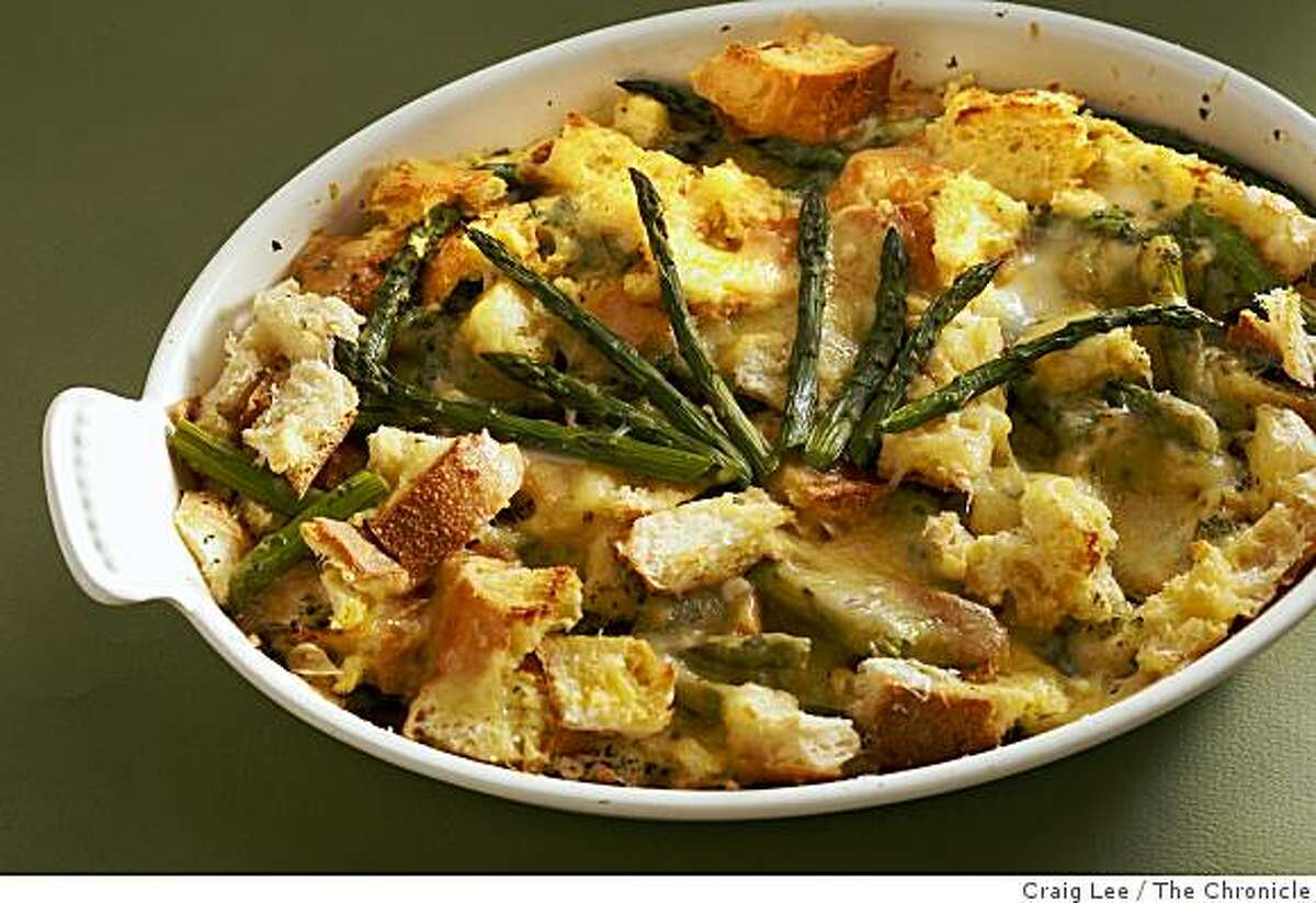 Savory Bread Pudding with Asparagus in San Francisco, Calif., on February 26, 2009. Food styled by Maryann Smitt.