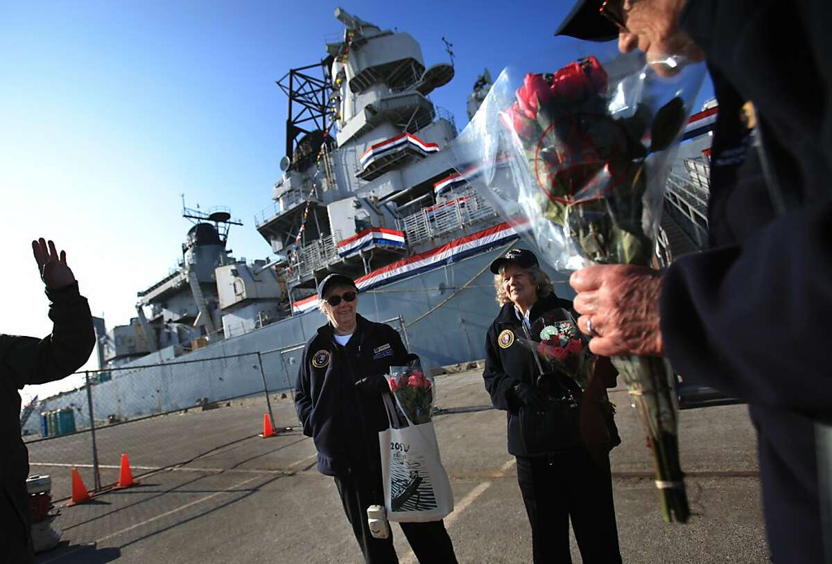 Marian Sousa (l to r), Priscilla Elder, and Marian Wynn, who all worked at Yard 3 in Richmond, say their goodbyes as they leave the USS Iowa after the 70th Anniversary of Pearl Harbor Day ceremony on Wednesday, Dec. 7, 2011, in Richmond. Elder worked in the electric shop, Sousa worked in the engineering department as a draftsperson and Wynn worked as a pipe welder at Yard 3.