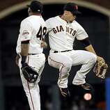 Pablo Sandoval, left, and Andres Torres celebrate after the Giants beat the Mets at AT&T Park on Thursday.Pablo Sandoval, left, and Andres Torres, right, celebrate after the Giants one their game against the Mets. The San Francisco Giants played the New York Mets at AT&T Park in San Francisco, Calif., on Thursday, July 15, 2010. The Giants defeated the Mets 2-0.   Ran on: 10-02-2010 Pablo Sandoval (left) and Andres Torres get the celebration off the ground after the Giants defeated the Mets 2-0 in a July game at AT&T Park.   **MANDATORY CREDIT FOR PHOTOG AND SF CHRONICLE/NO SALES/MAGS OUT/TV OUT/INTERNET: AP MEMBER NEWSPAPERS ONLY**
