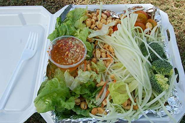 A mix-it-yourself green papaya salad  is on the menu at Nui's Thai Food truck Photo: Jeanne Cooper, Special To SFGate