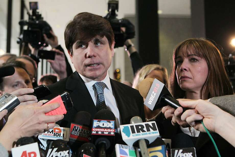 Former Gov. Rod Blagojevich, center, and his wife, Patti, talk to the media after the former governor was sentenced to 14 years in prison, Wednesday, December 7, 2011, in Chicago, Illinois. (Nancy Stone/Chicago Tribune/MCT) Photo: Nancy Stone, MCT