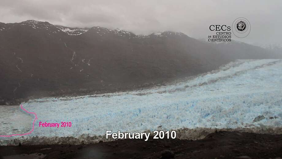 This photo grab taken form a video released by the private organization 'Centro de Estudios Cientificos', CECs, shows the retreat of the Jorge Montt glacier in Chile's Patagonia in Feb. 2010 when this photo was taken. According to Chilean scientist Andres Rivera, Chief of the Glaciology Lab at CECs, the images show that the snout of Jorge Montt Glacier retreated 1 kilometer (more than half a mile) between Feb. 2010 and Jan. 2011. (AP Photo/Centro de Estudios Cientificos) Photo: Ho, AP