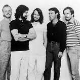 Promotional portrait of the rock band Supertramp, circa 1981. From left: John Helliwell, Rick Davies, Roger Hodgson, Bob Siebenberg and Dougie Thomson..
