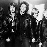 Promotional portrait of British heavy metal group, Iron Maiden, 1981: (From left) Steve Harris, Clive Burr, Paul Di'Anno, Adrian Smith, and Dave Murray..