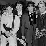 English new-romantic pop group Spandau Ballet, May 1983. Left to right: John Keeble, Gary Kemp, Tony Hadley, Martin Kemp, Steve Norman..