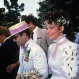 British pop star Elton John marries sound engineer Renate Blauel in Sydney, 14th February 1984..