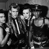 English new romantic pop group Culture Club, 1984. Left to right: Jon Moss, Roy Hay, Boy George and Mikey Craig..