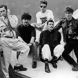 Liverpool pop group Frankie Goes to Hollywood, 1984. Left to right: Singer Holly Johnson, Peter Gill, Mark O'Toole, Paul Rutherford, Nasher Nash..