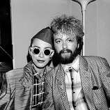 Scottish singer Annie Lennox and English musician Dave Stewart of the Eurythmics, October 1984..