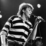 British pop singer Paul Young live at Wembley, 19th December 1984..