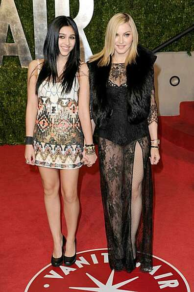 Lourdes Leon (L) and Madonna arrive at the Vanity Fair Oscar party hosted by Graydon Carter held at