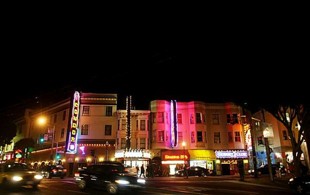 Rainbow colored lights on Broadway light up the North Beach sky on Friday, Nov. 21, 2008 in San Francisco, Calif.