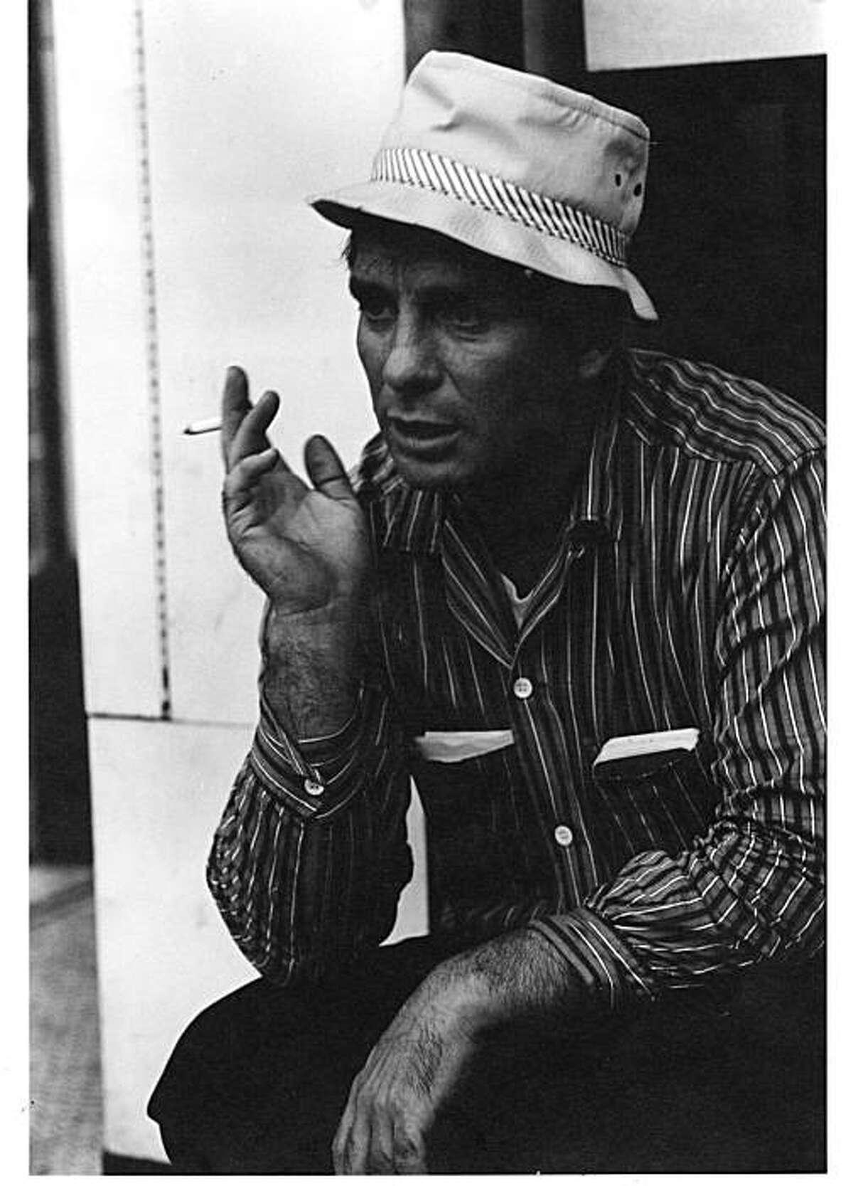 JACK KEROUAC IN NORTH BEACH IN 1960. ALSO RAN: 06/29/2000 Ran on: 08-15-2009 Writer-adventurer Jack Kerouac, above, hangs out in North Beach in 1960; inset left, his daughter, Jan Kerouac, and nephew Paul Blake Jr. in Corte Madera in 1995.