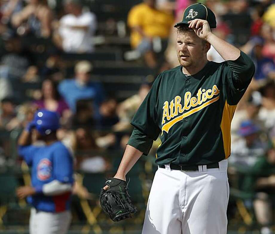 Starter Brett Anderson ran out of steam and was pulled in the 6th inning of the Oakland A's spring training baseball game against the Chicago Cubs at Phoenix Municipal Stadium in Phoenix, Ariz. on Tuesday, March 15, 2011. Photo: Paul Chinn, The Chronicle