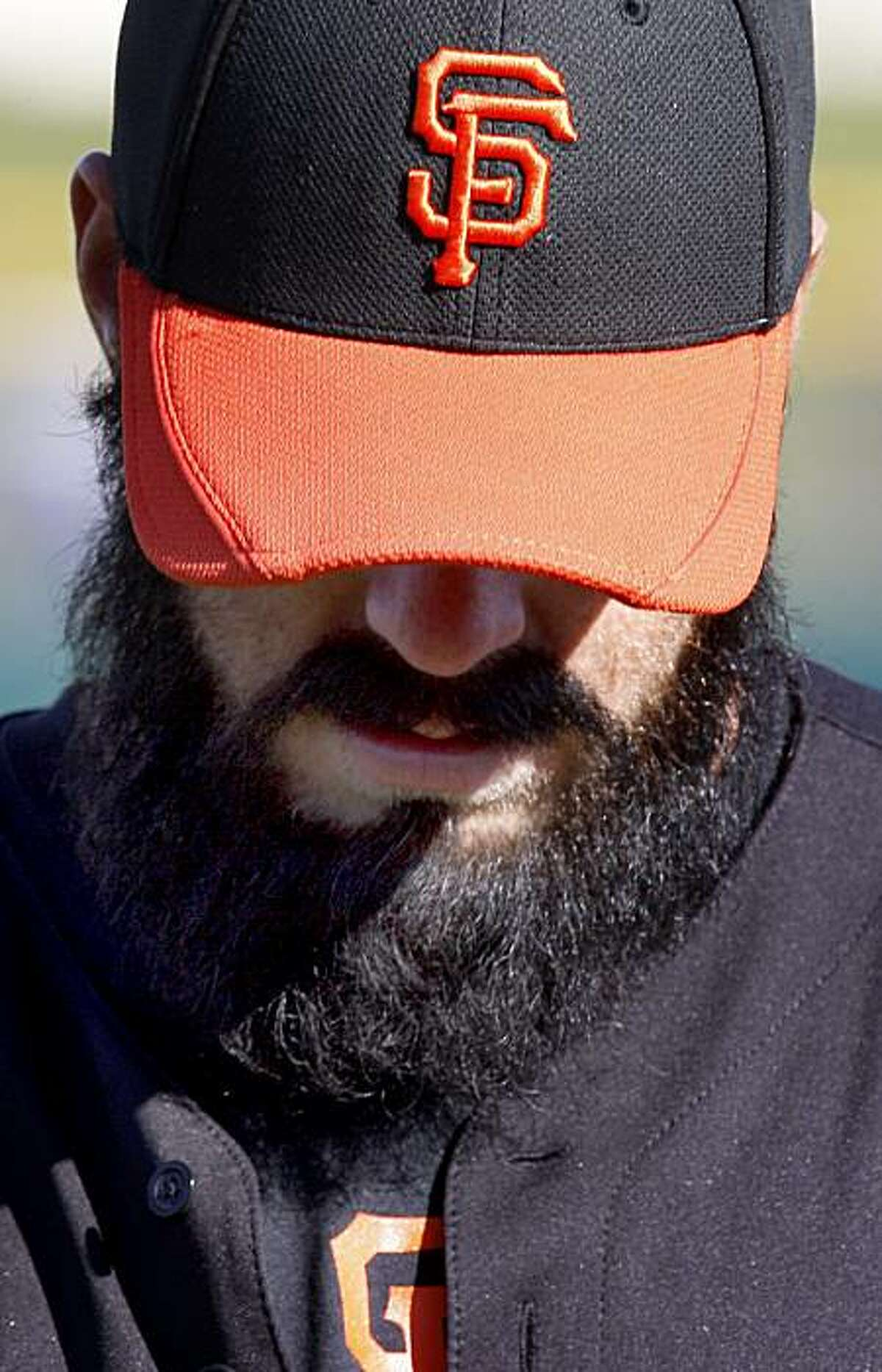 That is Brian Wilson underneath the hat and beard. The San Francisco Giants held their second workout of the spring training season at Scottsdale Stadium in Arizona Wednesday February 16, 2011.