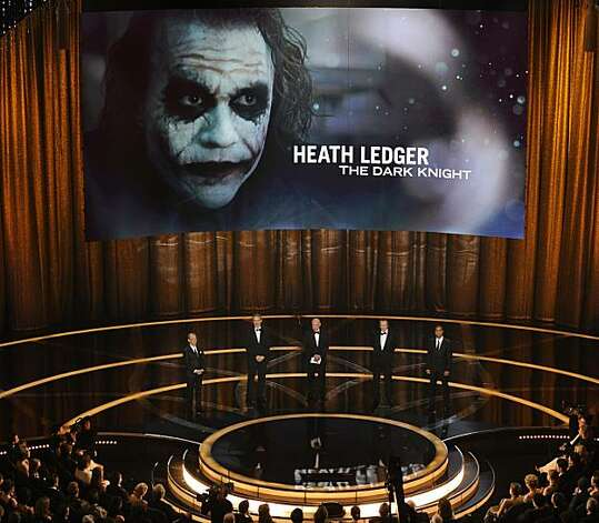 Former Oscar winners from left, Joel Grey, Kevin Kline, Alan Arkin, Christopher Walken and Cuba Gooding Jr., make the award presentation for best supporting actor, won by the late Heath Ledger, during the 81st Academy Awards Sunday, Feb. 22, 2009, in the Hollywood section of Los Angeles. (AP Photo/Mark J. Terrill) Photo: Mark J. Terrill, AP