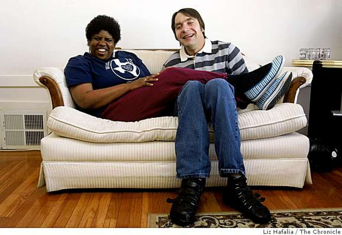 Kim Bazile and Noah Kessler, both legally blind and with cognitive impairment, in San Francisco, Calif., on Wednesday, April 29, 2009. In 2004, Noah asked Kim to marry him. They wed at Arc of San Francisco, a resource center located downtown for adults with developmental disabilities.