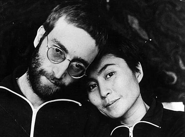 January 1970: John Lennon (1940 - 1980) with his wife Yoko Ono the first time he was photographed with short hair since his hippie days. Photo: Anthony Cox