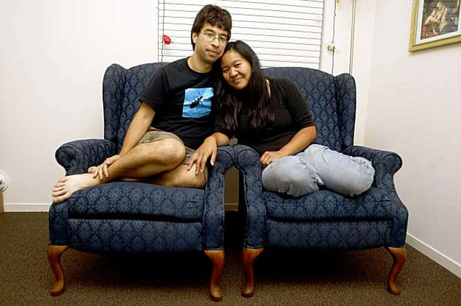 In 2002 Misha Leong who was a UCLA ecology student did sea turtle conservation on a remote beach north of Puerto Vallarta where she met Sebastien Renaudin, volunteering six months from France.  Seven years later they are at home on Thursday, September 10, 2009, in Albany, Calif. Photo: Liz Hafalia, The Chronicle