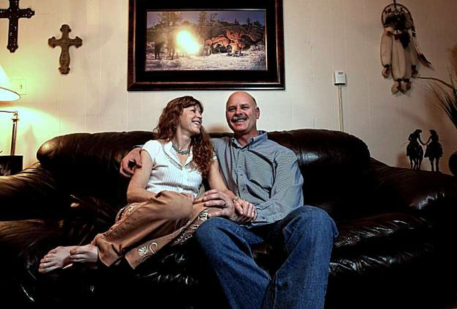 Diane and John Dull, at their Half Moon Bay, Calif. home on Tuesday Mar. 9, 2010. On the Couch feature on the couple who were divorced after long marriages and met each other online in 2003. Photo: Michael Macor, The Chronicle