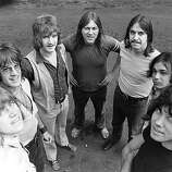 27th August 1970: American rock band Chicago, in England to top the bill at the 1970 Isle of Wight festival. From left to right; Pete Cetera (bass), James Pankow (trombone), Lee Loughnane (trumpet), Terry Kath (guitar), Walter Parazaider (saxophone) and Danny Seraphine.