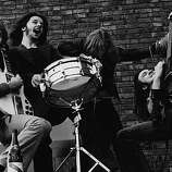 13th July 1970: British rock group Humble Pie larking about. From left to right; Peter Frampton, Jerry Shirley, Gregg Ridley and Steve Marriott (1947 - 1991).