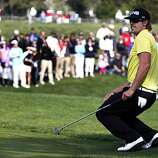 Hunter Mahan, who finished in second place at the AT&T Pebble Beach National Pro-Am on Sunday, reacts to a missed birdie attempt on the 16th hole.