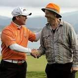Tournament champion D.A. Points and amateur champion Bill Murray celebrate their victories after the final round of the AT&T Pebble Beach National Pro-Am on Sunday.