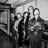 27th February 1974: British rock group Genesis, (from left) Peter Gabriel, Phil Collins, Tony Banks, Mike Rutherford and Steve Hackett at London Airport.