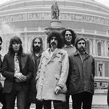American musician Frank Zappa (1940 - 1993) outside the Albert Hall in London with his rock band the Mothers of Invention.