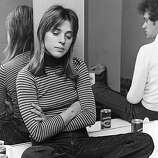 Rock singer Suzi Quatro relaxes in her dressing room before playing the Glasgow Apollo on her first headlining UK tour.