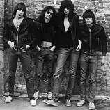 American punk rock group The Ramones. Left to right: Johnny Ramone (1948 - 2004) Tommy Ramone, Joey Ramone (1951 - 2001) and Dee Dee Ramone (1952 - 2002).