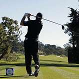 Matt Bettencourt tees off on the fourth hole in the third round of the AT&T Pebble Beach National Pro-Am on Saturday.