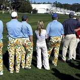 John Daly fans line the third fairway in the third round of the AT&T Pebble Beach National Pro-Am on Saturday.