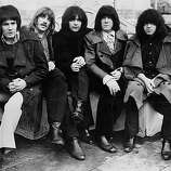 British rock band Deep Purple on the roof of the Dorchester Hotel, London; from left to right Rod Evans, Jon Lord, Ritchie Blackmore, Nicky Simper and Ian Paice..