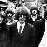 Innovative Californian folk-pop-rock combo The Byrds in London for their British tour. They are (left to right) David Crosby, Chris Hillman, Jim McGuinn, Michael Clarke and Gene Clark..