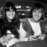 August 1965: American singers Cher (Cherylynn LaPiere, Cherilyn Sarkisian) and Sonny Bono (Salvatore Bono) (1935 - 1998) on a visit to London..