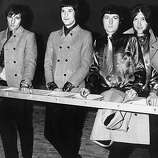 "June 1967: English pop group The Kinks, whose latest disc ""Waterloo Sunset"" is number 2 in the charts, from left to right; Mick Avory, Ray Davies, Dave Davies and Peter Quaife.."