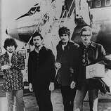 "17th June 1968: Blues, rock 'n' roll and progressive pop-influenced band Fleetwood Mac, when their instrumental single ""Albatross"" was topping the British charts. The line up is, from left to right; Mick Fleetwood, Peter Green, Jeremy Spencer and John McVie.."