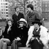 "11th January 1967: British pop group The Rolling Stones in Green Park, London, shortly before flying to the States to perform on the ""Ed Sulivan Show,"" one of the most popular entertainment shows on American television.."
