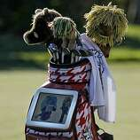 John Daly's golf bag has a built in video screen that runs advertisements, during round 1 action of the AT&T Pebble Beach National Pro-Am in Pebble Beach, Ca. on Thursday Feb. 10, 2011.