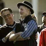 Andy Garcia, (left) and Bill Murray share a laugh on the first tee before the start of the Celebrity Challenge, a day before the start of the AT&T Pebble Beach National Pro-Am in Pebble Beach, Ca. on Wednesday Feb. 9, 2011.