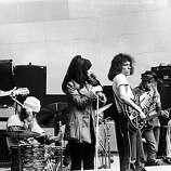 American rock group Jefferson Airplane performs on stage at the Central Park bandshell, New York City, August 1969. L-R: Guitarist Paul Kantner, drummer Spencer Dryden, singer Grace Slick, guitarist Jorma Kaukonen, bassist Jack Casady, singer Marty Balin..