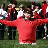 Sportscaster Chris Berman reacts to a missed trap shot on the second hole during the Celebrity Challenge at Pebble Beach Golf links, site of the annual AT&T National Pro-Am Golf Tournament Wednesday Feb. 9, 2010. Wednesday Feb 9, 2011