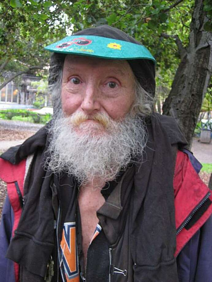 The Hate Man, 73, has been a well-known homeless character for more than two decades on Telegraph Avenue in Berkeley. Photo: Kevin Fagan, The Chronicle