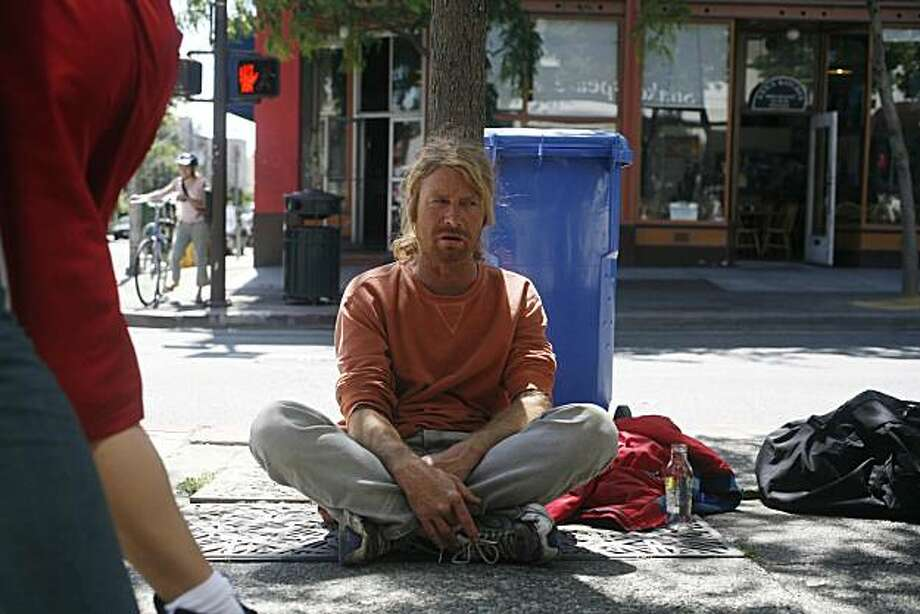 """Berkeley homeless man of 5 years who says he occasional panhandles, Kevin Foley hangs out on Telegraph Avenue in Berkeley. He may be breaking the law based on the new Public Commons"""" measure in Berkeley. - Berkeley City Council approved the measure Tuesday as part of a crackdown on aggressive and disruptive street behavior on Berkeley Streets. Photo: Mike Kepka, The Chronicle"""