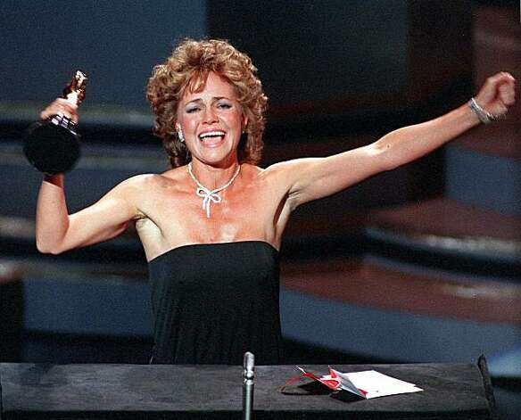 "Actress Sally Field accepts her Academy Award for best actress in the film ""Places in the Heart"" at the Oscar ceremonies in Los Angeles March 26, 1985. ""I can't deny the fact you like me, "" she said in her acceptance speech, ""Right now, you like me."" (AP Photo/Files)"