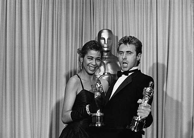 Songstress Irene Cara, left, and songwriter Keith Forsey show off the Academy Awards they won during presentations, Monday, April 10, 1984, Los Angeles, Calif. Flashdance&.What a Feeling, which Ms. Cara sang, and Forsey wrote the lyrics for, won best original song. (AP Photo) Photo: Anonymous