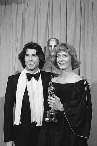 "Actor John Travolta, left, stands next to actress Vanessa Redgrave having just presented her with an Oscar for the best performance by an actress in a supporting role for the movie ""Julia"" April. 3, 1978  in Los Angeles, Calif. (AP Photo) Photo: Anonymous"