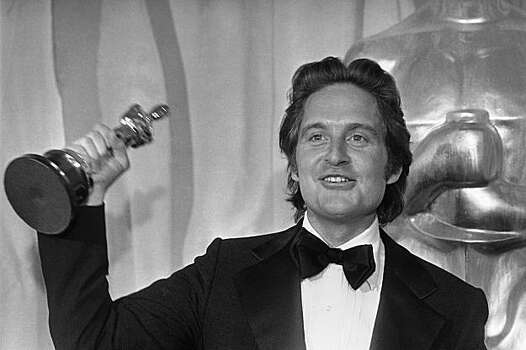 "Actor Michael Douglas, son of actor Kirk Douglas and co-producer of the film ""One Flew Over the Cuckoo's Nest,"" holds the Oscar won by the picture at the Academy Awards in Los Angeles, Ca., March 29, 1976.  (AP Photo) Photo: Anonymous"
